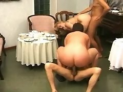 Plump housewifes in crazy gangbang